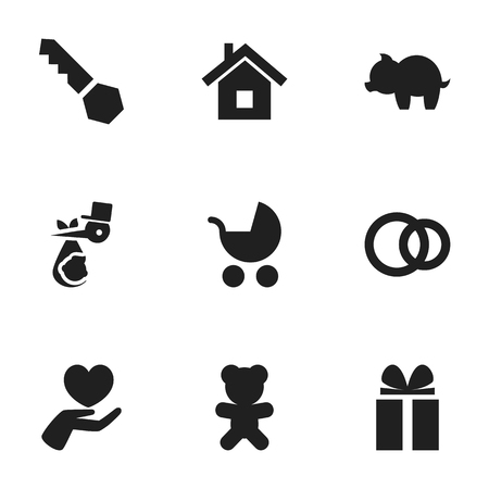 Set Of 9 Editable Folks Icons. Includes Symbols Such As Heart, Toy, Moneybox And More. Can Be Used For Web, Mobile, UI And Infographic Design.