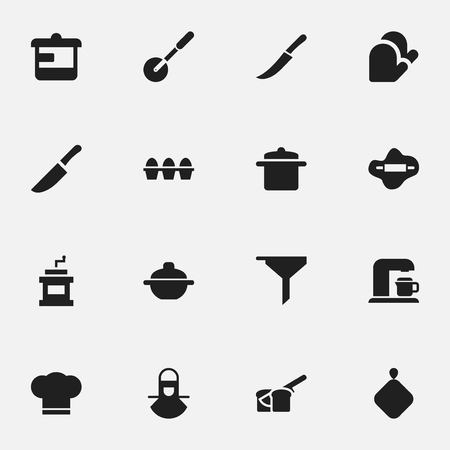 Set Of 16 Editable Meal Icons. Includes Symbols Such As Cook Cap, Utensil, Rocker Blade And More. Can Be Used For Web, Mobile, UI And Infographic Design.
