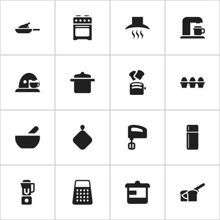 originator: Set Of 16 Editable Meal Icons. Includes Symbols Such As Cup, Kitchen Hood, Stove And More. Can Be Used For Web, Mobile, UI And Infographic Design. Illustration