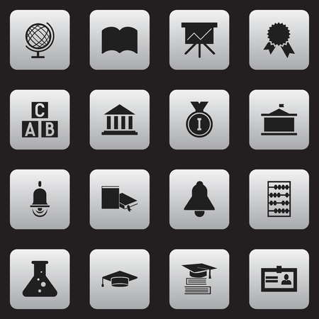 baccalaureate: Set Of 16 Editable School Icons. Includes Symbols Such As Earth Planet, Univercity, Bell And More. Can Be Used For Web, Mobile, UI And Infographic Design.