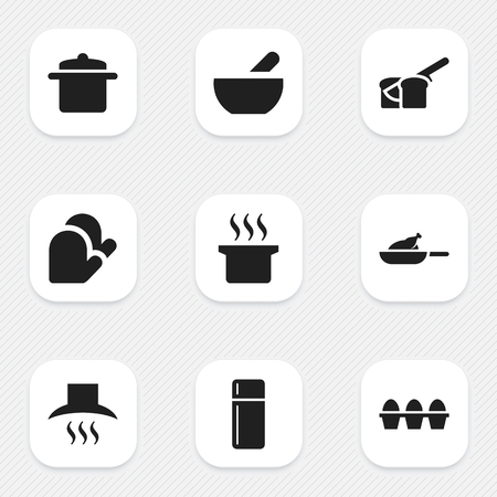 aeration: Set Of 9 Editable Cook Icons. Includes Symbols Such As Bakery, Kitchen Glove, Refrigerator And More. Can Be Used For Web, Mobile, UI And Infographic Design.