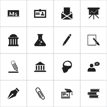 magazine stack: Set Of 16 Editable Graduation Icons. Includes Symbols Such As Museum, Thinking Man, Library And More. Can Be Used For Web, Mobile, UI And Infographic Design. Illustration