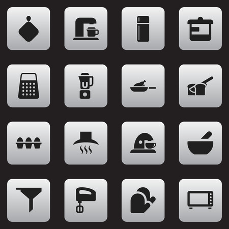 Set Of 16 Editable Meal Icons. Includes Symbols Such As Hand Mixer, Soup, Shredder. Can Be Used For Web, Mobile, UI And Infographic Design.