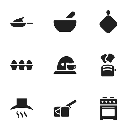 originator: Set Of 9 Editable Food Icons. Includes Symbols Such As Soup, Cup, Kitchen Hood And More. Can Be Used For Web, Mobile, UI And Infographic Design.