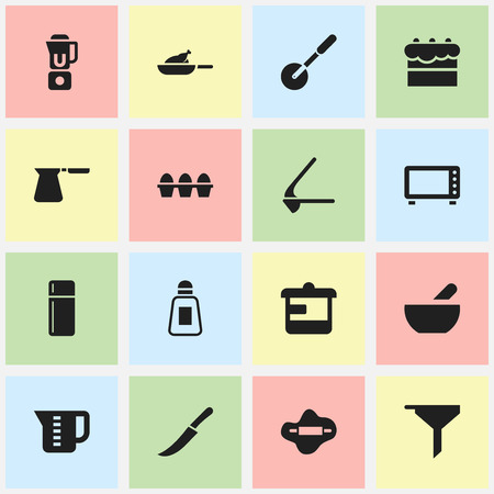 Set Of 16 Editable Food Icons. Includes Symbols Such As Knife Roller, Dough, Mensural And More.