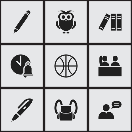 baccalaureate: Set Of 9 Editable Education Icons. Includes Symbols Such As Pencil, Thinking Man, Basket Play And More. Can Be Used For Web, Mobile, UI And Infographic Design.