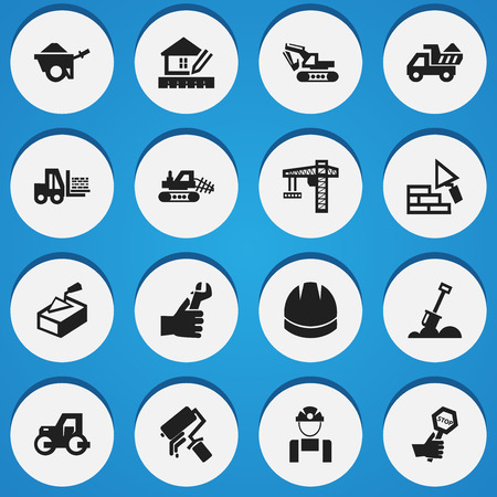 Set Of 16 Editable Building Icons. Includes Symbols Such As Excavation Machine , Hands , Endurance. Can Be Used For Web, Mobile, UI And Infographic Design.