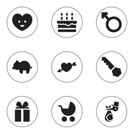 Set Of 9 Editable Folks Icons. Includes Symbols Such As Gift, Man Emblem, Lock And More. Can Be Used For Web, Mobile, UI And Infographic Design. Ilustração