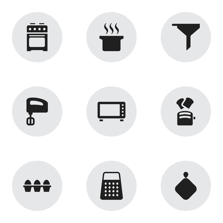 Set Of 9 Editable Meal Icons. Includes Symbols Such As Pot-Holder, Soup Pot, Filtering And More. Can Be Used For Web, Mobile, UI And Infographic Design.