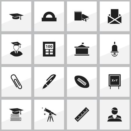 Ensemble de 16 icônes scolaires modifiables. Comprend des symboles tels que l'étude du garçon, la boule ovale, l'agrafe et plus encore. Peut être utilisé pour la conception Web, mobile, UI et infographique. Vecteurs