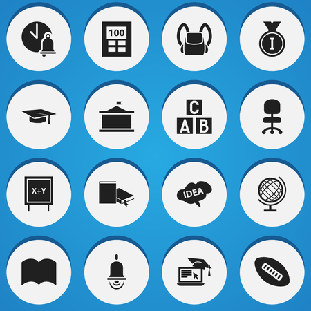 comfort classroom: Set Of 16 Editable School Icons. Includes Symbols Such As Distance Learning, School Bell, Alarm Bell And More. Can Be Used For Web, Mobile, UI And Infographic Design. Illustration