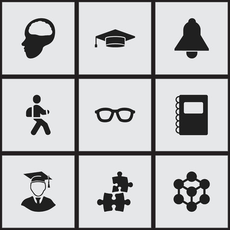 Set Of 9 Editable Education Icons. Includes Symbols Such As Graduate, Copybook, Disciple And More. Can Be Used For Web, Mobile, UI And Infographic Design. Illustration