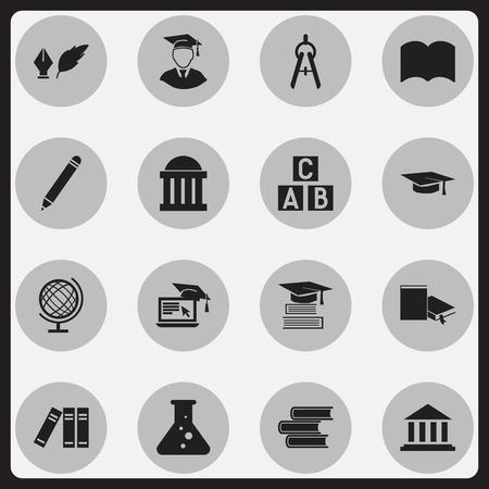 Ensemble de 16 icônes de remise des diplômes modifiables. Comprend des symboles tels que la chimie, la littérature, le cube alphabet, etc. Peut être utilisé pour la conception Web, mobile, UI et infographique.