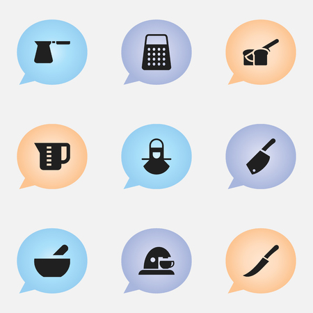 bread maker: Set Of 9 Editable Meal Icons. Includes Symbols Such As Cup, Backsword, Soup And More. Can Be Used For Web, Mobile, UI And Infographic Design.