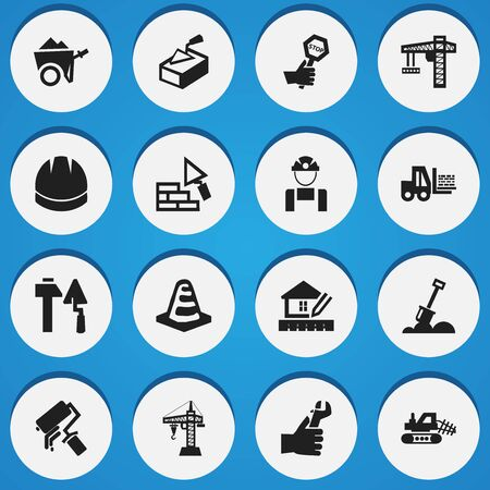 hand trowel: Set Of 16 Editable Structure Icons. Includes Symbols Such As Mule, Endurance, Facing And More. Can Be Used For Web, Mobile, UI And Infographic Design.