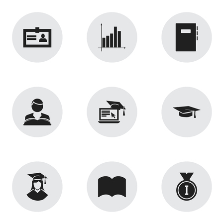baccalaureate: Set Of 9 Editable School Icons. Includes Symbols Such As Certification, Graduated Female, Studying Boy And More. Can Be Used For Web, Mobile, UI And Infographic Design. Illustration