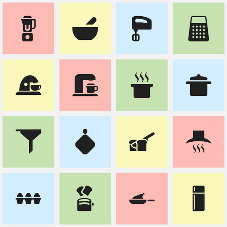Set Of 16 Editable Cooking Icons. Includes Symbols Such As Egg Carton, Grill, Slice Bread And More. Can Be Used For Web, Mobile, UI And Infographic Design.
