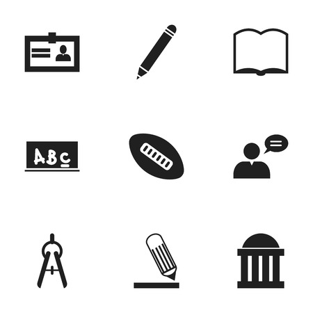 courthouse: Set Of 9 Editable Education Icons. Includes Symbols Such As Writing, School Board, Math Tool And More. Can Be Used For Web, Mobile, UI And Infographic Design.