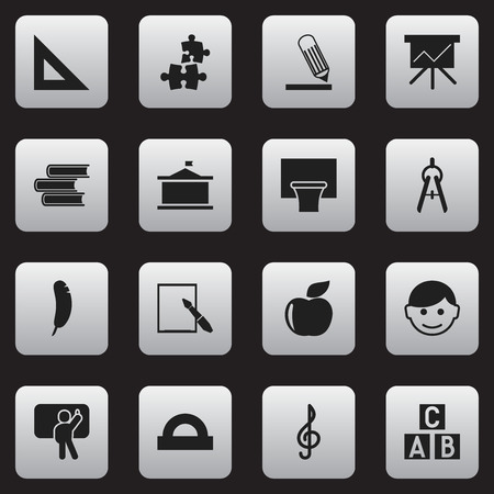 Set Of 16 Editable Graduation Icons. Includes Symbols Such As Alphabet Cube, Library, Basketball And More. Can Be Used For Web, Mobile, UI And Infographic Design.