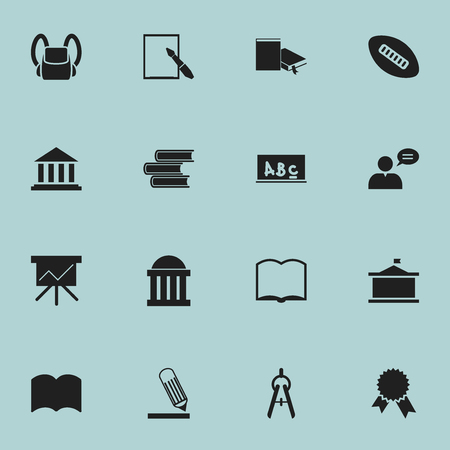 Set Of 16 Editable University Icons. Includes Symbols Such As Math Tool, Writing, Schoolbag And More. Can Be Used For Web, Mobile, UI And Infographic Design.
