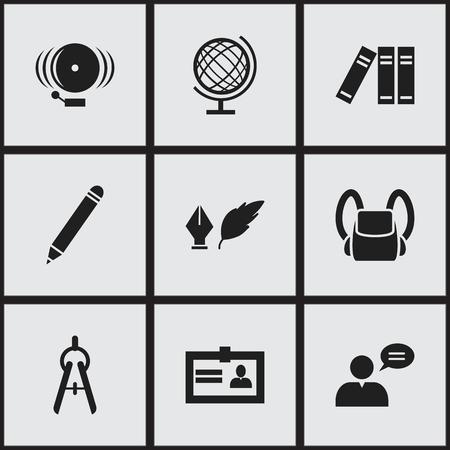 Ensemble de 9 icônes universitaires modifiables. Inclut des symboles tels que la bibliothèque, la littérature, l'anneau et plus. Peut être utilisé pour Web, Mobile, UI et conception infographique.
