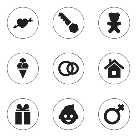 Set Of 9 Editable Folks Icons. Includes Symbols Such As Hoop, Cold Dessert, Love And More. Can Be Used For Web, Mobile, UI And Infographic Design. Ilustração