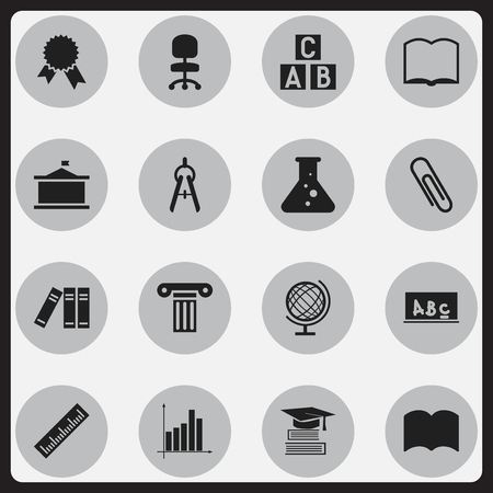 Set Of 16 Editable School Icons. Includes Symbols Such As Earth Planet, Staple, Book And More. Can Be Used For Web, Mobile, UI And Infographic Design.