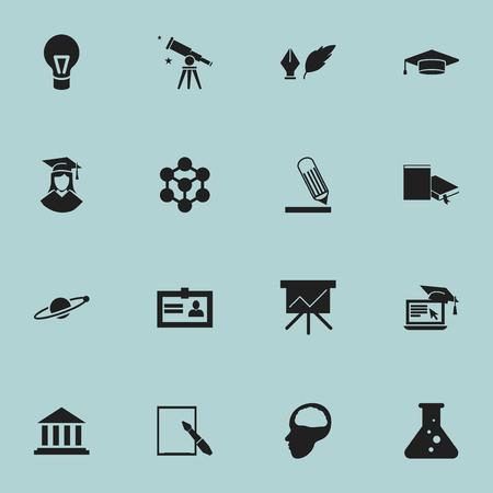 Conjunto de 16 iconos de ciencia editable. Incluye símbolos como binoculares, lámpara, certificación y más. Se puede usar para diseño web, móvil, de interfaz de usuario y de infografía.
