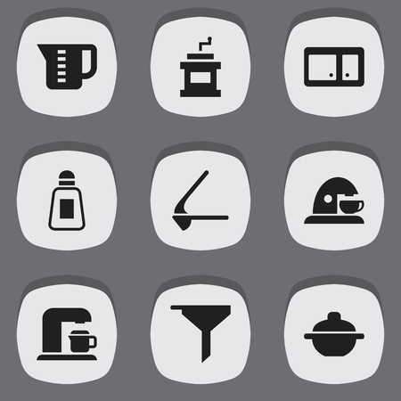Set Of 9 Editable Cook Icons. Includes Symbols Such As Saucepan, Drink Maker, Saltshaker And More. Can Be Used For Web, Mobile, UI And Infographic Design.