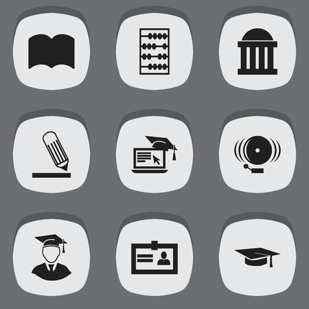 Set Of 9 Editable Education Icons. Includes Symbols Such As Ring, Graduation Hat, Writing And More. Can Be Used For Web, Mobile, UI And Infographic Design.