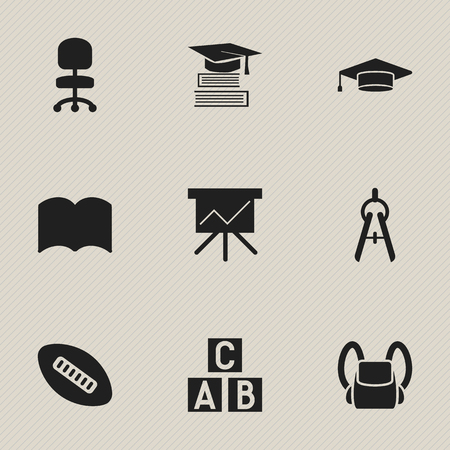 Set Of 9 Editable Education Icons. Includes Symbols Such As Math Tool, Work Seat, Alphabet Cube And More. Can Be Used For Web, Mobile, UI And Infographic Design.