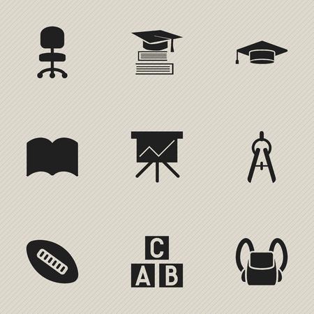 Ensemble de 9 icônes d'éducation modifiables. Comprend des symboles tels que des outils mathématiques, un siège de travail, un cube en alphabet, etc. Peut être utilisé pour la conception Web, mobile, UI et infographique.
