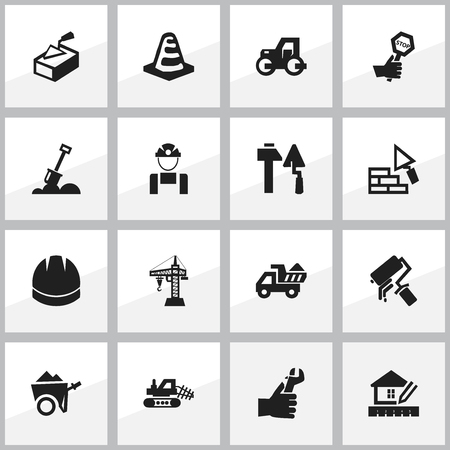 earth moving: Set Of 16 Editable Building Icons. Includes Symbols Such As Mule, Home Scheduling, Handcart. Can Be Used For Web, Mobile, UI And Infographic Design. Illustration