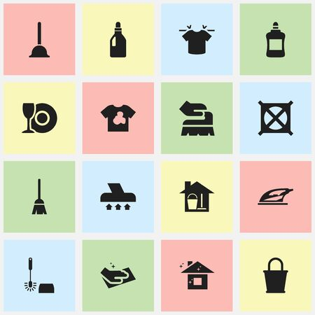Set Of 16 Editable Cleaning Icons. Includes Symbols Such As Cleaner, Scrub, Exhauster And More. Can Be Used For Web, Mobile, UI And Infographic Design.