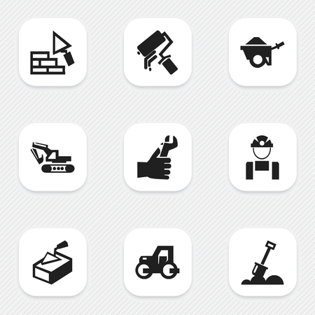 ampoule: Set Of 9 Editable Structure Icons. Includes Symbols Such As Scrub, Trolley, Excavation Machine And More. Can Be Used For Web, Mobile, UI And Infographic Design. Illustration