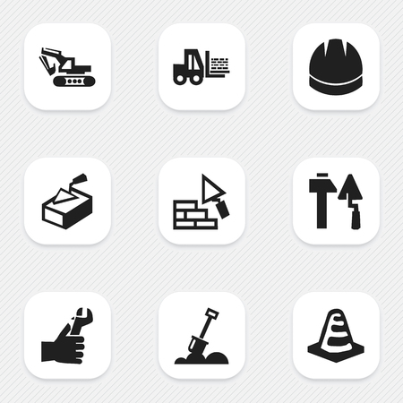 architect: Set Of 9 Editable Construction Icons. Includes Symbols Such As Construction Tools, Excavation Machine, Oar And More. Can Be Used For Web, Mobile, UI And Infographic Design.