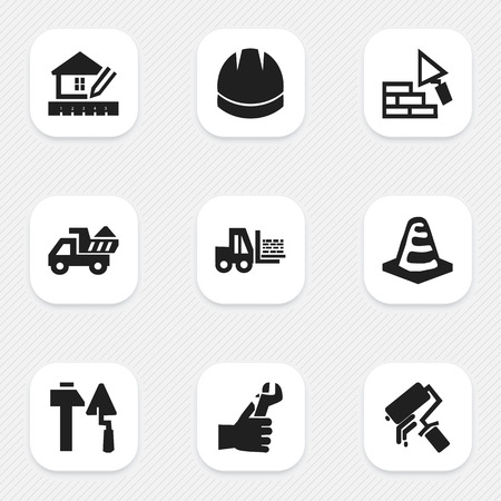 camion: Set Of 9 Editable Construction Icons. Includes Symbols Such As Scrub, Camion, Facing And More. Can Be Used For Web, Mobile, UI And Infographic Design.