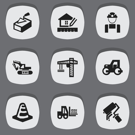 Set Of 9 Editable Structure Icons. Includes Symbols Such As Truck, Employee, Home Scheduling And More. Can Be Used For Web, Mobile, UI And Infographic Design.