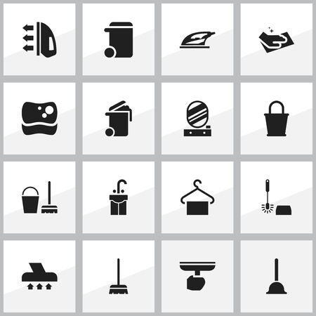 Set Of 16 Editable Cleanup Icons. Includes Symbols Such As Cleaning Kit, Pail, Brush And More. Can Be Used For Web, Mobile, UI And Infographic Design. Illustration