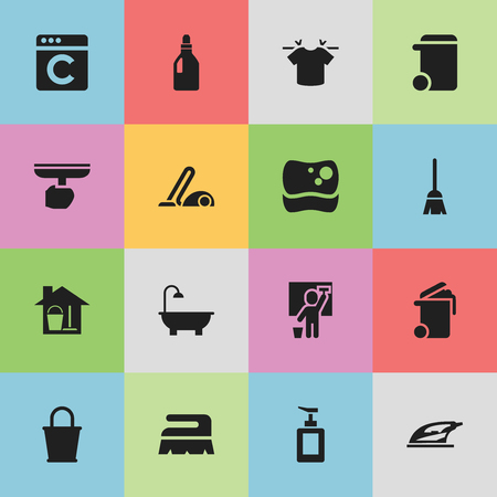Set Of 16 Editable Cleaning Icons. Includes Symbols Such As Brush, Pail, Vacuum Cleaner And More. Can Be Used For Web, Mobile, UI And Infographic Design.