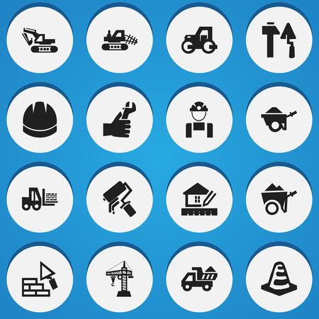 Set Of 16 Editable Building Icons. Includes Symbols Such As Camion , Handcart , Excavation Machine. Can Be Used For Web, Mobile, UI And Infographic Design.