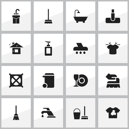 Set Of 16 Editable Cleanup Icons. Includes Symbols Such As Cleaning Kit, Sink, Dustbin And More. Can Be Used For Web, Mobile, UI And Infographic Design.