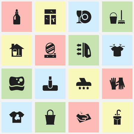 Set Of 16 Editable Dry-Cleaning Icons. Includes Symbols Such As Clean T-Shirt, Plate, Gauntlet And More. Can Be Used For Web, Mobile, UI And Infographic Design. Ilustração
