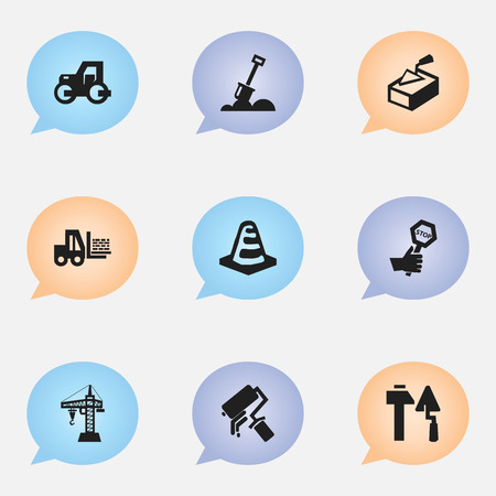 tractor warning: Set Of 9 Editable Building Icons. Includes Symbols Such As Construction Tools, Caterpillar, Spatula And More. Can Be Used For Web, Mobile, UI And Infographic Design.