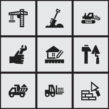 mason: Set Of 9 Editable Structure Icons. Includes Symbols Such As Hands , Facing,  Lifting Equipment. Can Be Used For Web, Mobile, UI And Infographic Design. Illustration