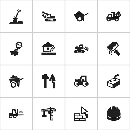 camion: Set Of 16 Editable Structure Icons. Includes Symbols Such As Handcart , Truck , Scrub. Can Be Used For Web, Mobile, UI And Infographic Design.