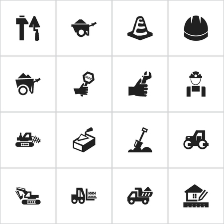 Set Of 16 Editable Structure Icons. Includes Symbols Such As Truck, Excavation Machine, Endurance And More. Can Be Used For Web, Mobile, UI And Infographic Design.
