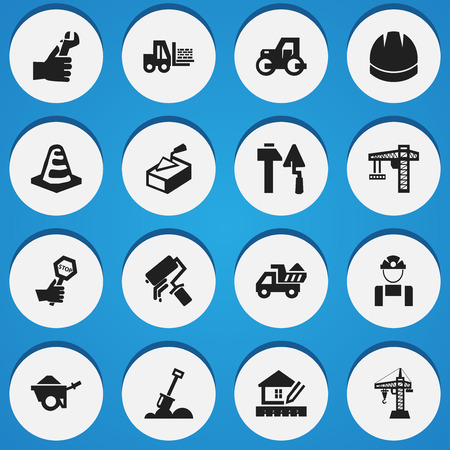 Set Of 16 Editable Construction Icons. Includes Symbols Such As Hands , Hardhat , Trolley. Can Be Used For Web, Mobile, UI And Infographic Design. Illustration