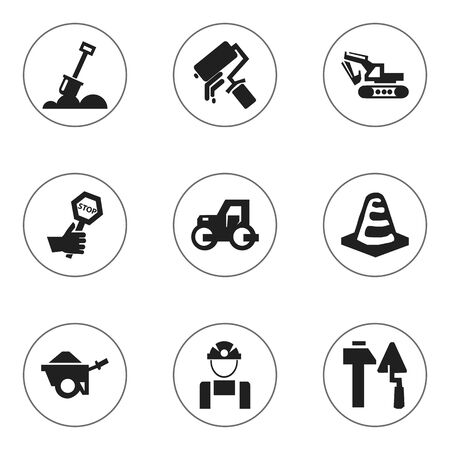 mason: Set Of 9 Editable Building Icons. Includes Symbols Such As Scrub, Employee, Notice Object And More. Can Be Used For Web, Mobile, UI And Infographic Design. Illustration