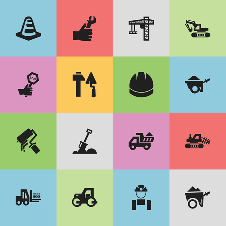 architect: Set Of 16 Editable Construction Icons. Includes Symbols Such As Trolley, Endurance, Hardhat And More. Can Be Used For Web, Mobile, UI And Infographic Design.